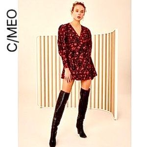 NWT C/MEO Opacity Floral Wrap Mini Dress Medium